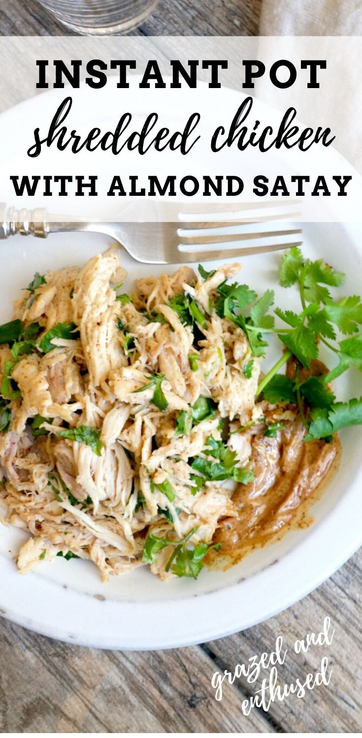 Instant Pot Shredded Chicken with Almond Satay