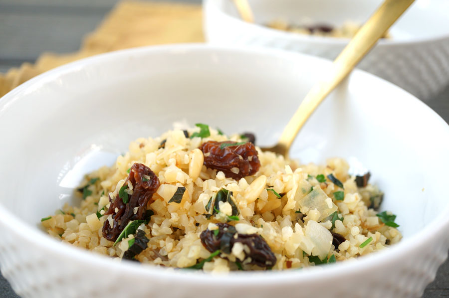 "Toasted ""Couscous"" with Pine Nuts + Raisins - Grazed & Enthused"