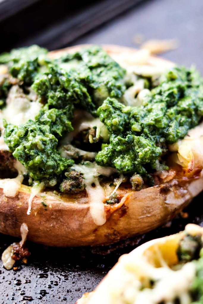 Twice Baked Sweet Potatoes with Pesto