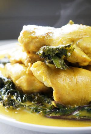 golden chicken and kale