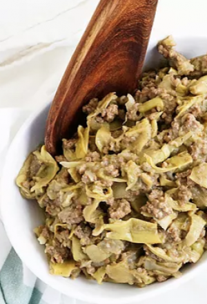 creamy smothered beef artichokes